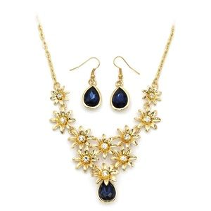 golden blue flower crystal necklace earrings set